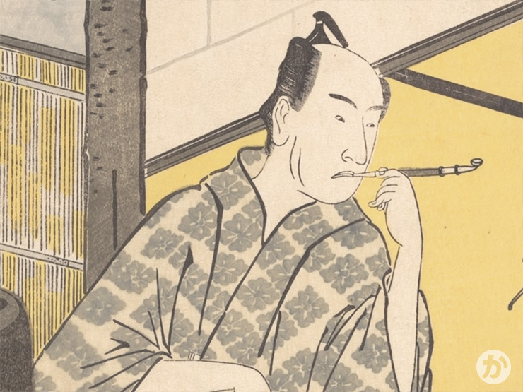 高麗屋の定紋「四つ花菱」柄の着物を着た四代目松本幸四郎